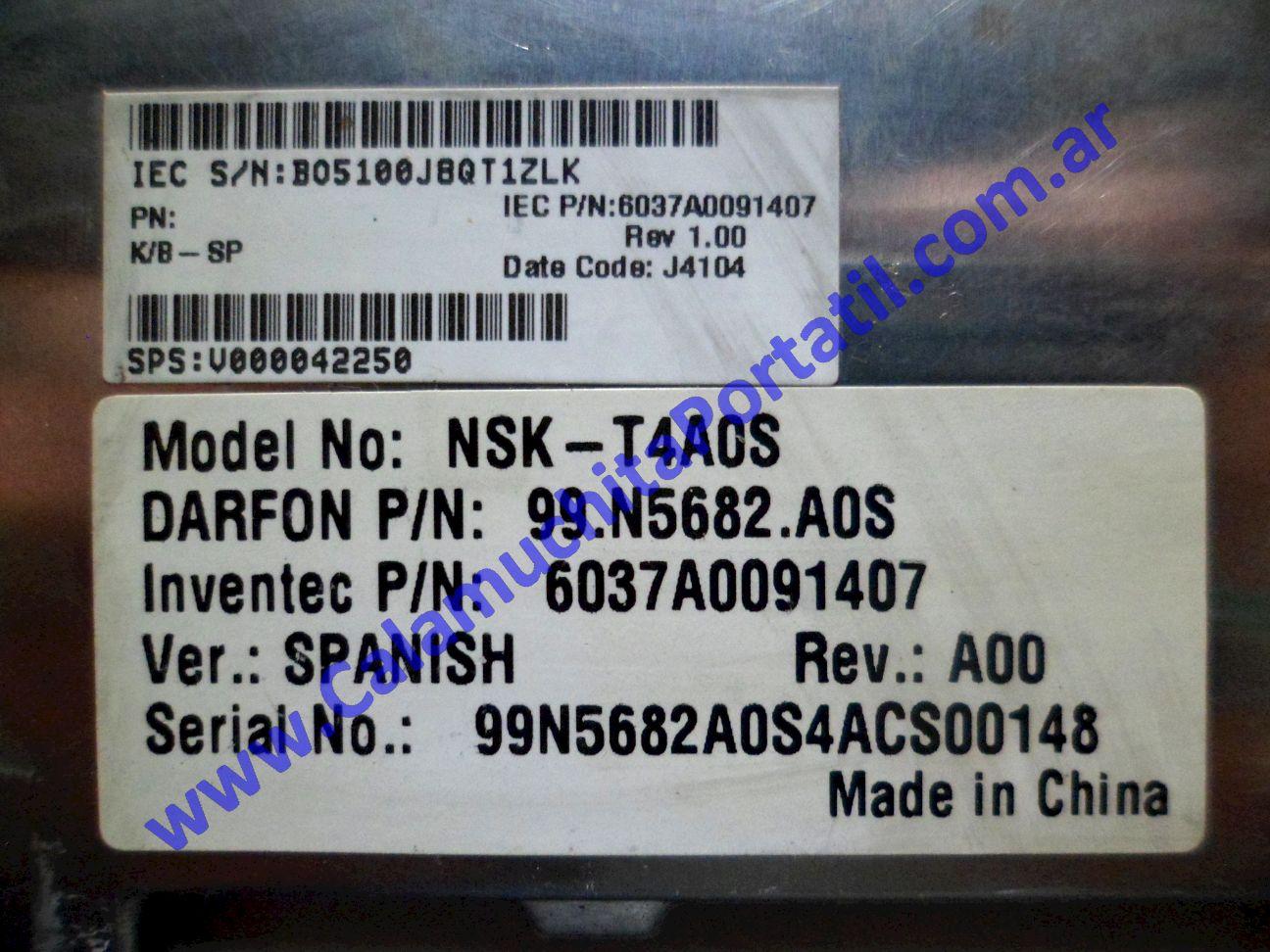 0023KBA Teclado Toshiba Satellite A60-SP159