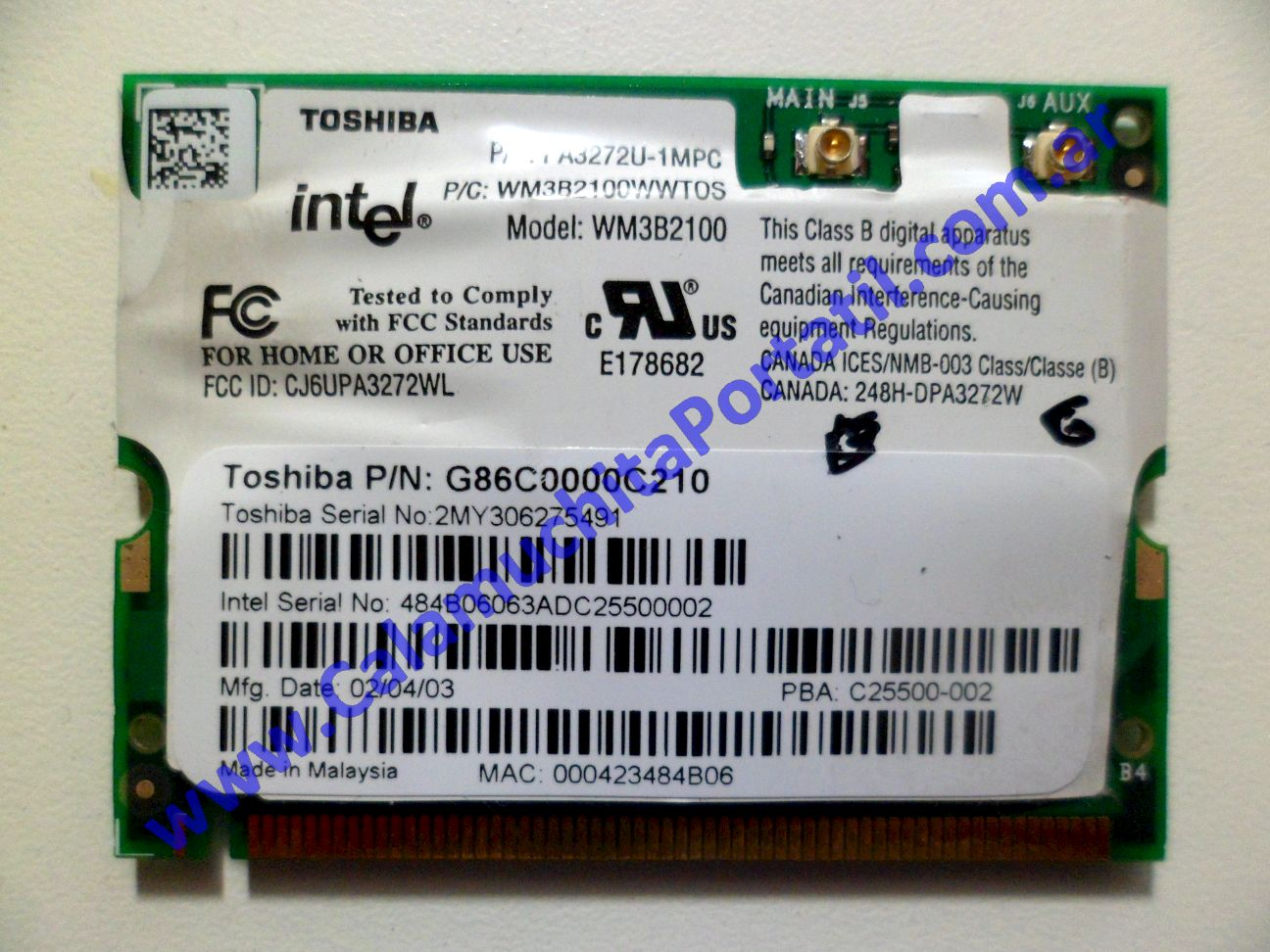 0026PWI Placa Wifi Toshiba Satellite Pro M15-S405