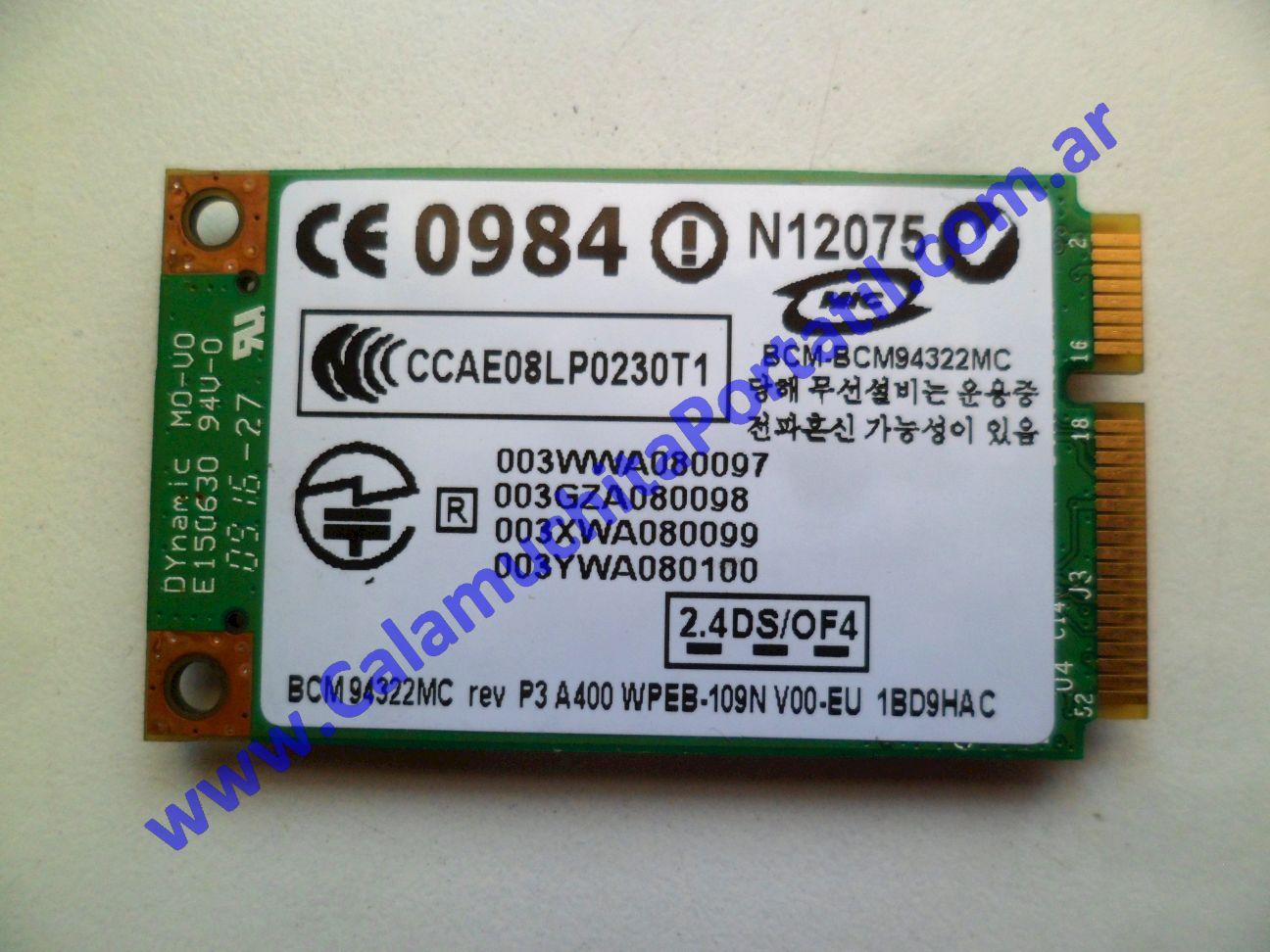 0499PWI Placa Wifi Hewlett Packard TouchSmart tx2-1380la / VS607LA#AC8
