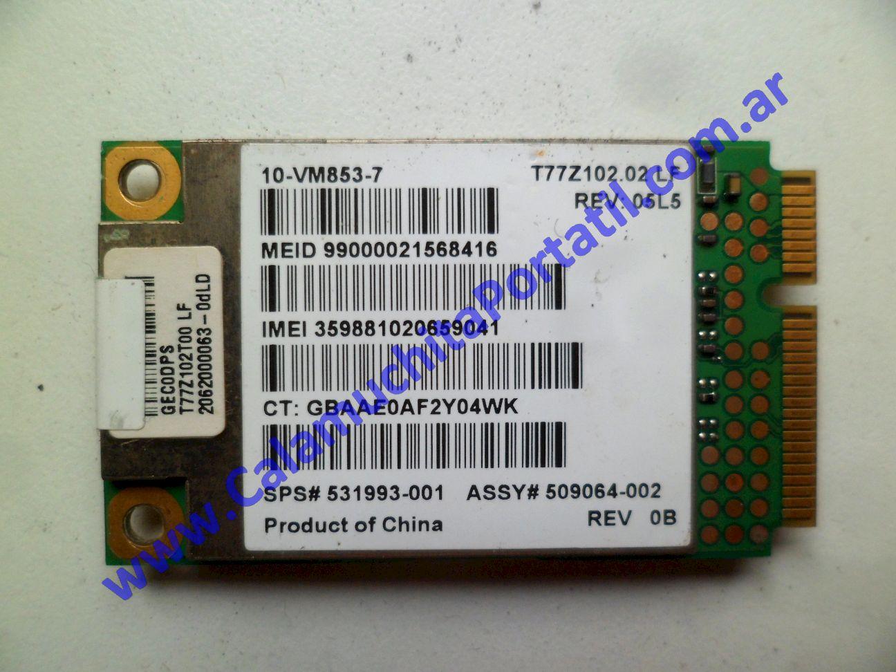 0529PWA Placa Wan Hewlett Packard Mini 110-1150LA / VU376LA#ABM