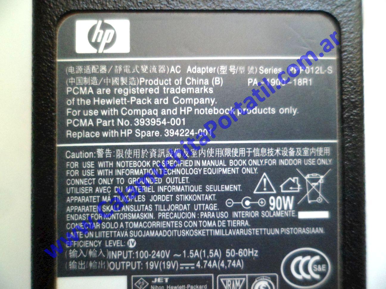0539RCA Cargador Hewlett Packard Pavilion dv7-3079wm / VM241UA#ABA