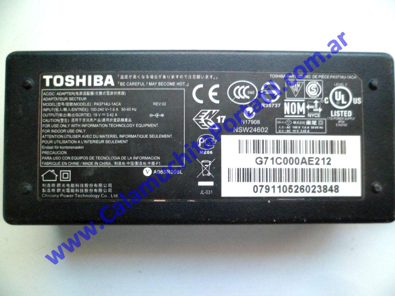 0598RCA Cargador Toshiba Satellite L755-S5275 / PSK1WU-04M004